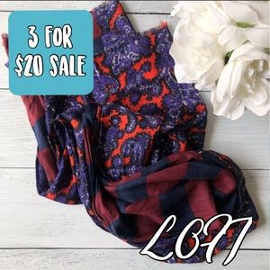 LOFT paisley and striped maroon lightweight scarf